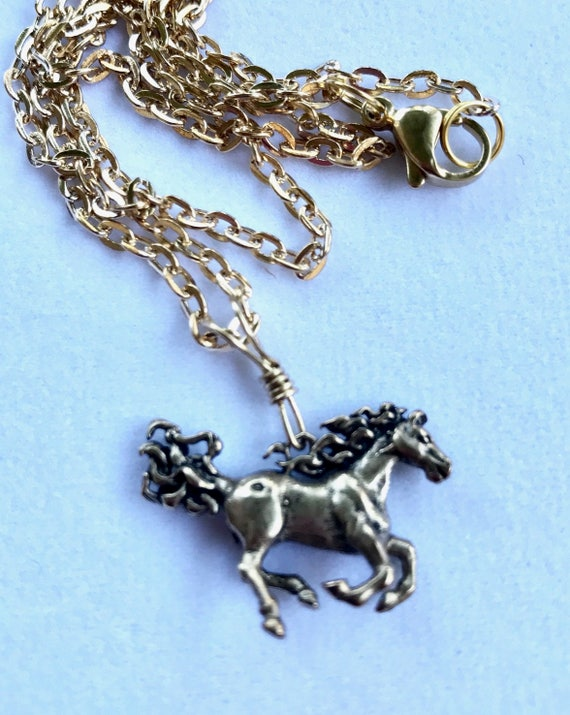 Six different Brass Horse Charm Necklaces