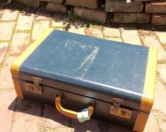 Vintage Suitcase / Retro Luggage / Small Suitcase / Blue Suitcase