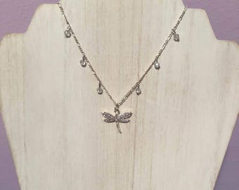 Sansa Stark Inspired Silver Rhinestone and Crystal Dragonfly Charm Necklace - Fantasy