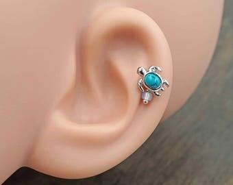 Turquoise Blue Gem Turtle Silver Stud Cartilage Earring Piercing 16g