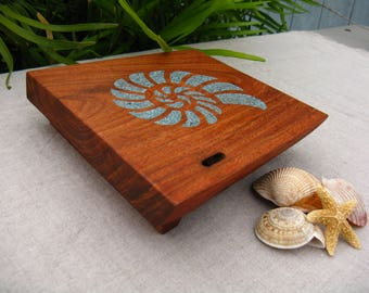 Wood Coaster / Mini Tray / Cutting Board -  Hand Engraved with a Seashell and filled with Turquoise - Natural Edge Salvaged Mesquite Wood