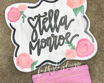 hospital door hanger for girls // floral design // peach, coral, rose pinks with greenery
