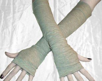 Gray Arm Warmers fingerless gloves armwarmer armwarmers arm warmer glove sleeves Gothic goth belly dance bohemian steam punk yoga emo
