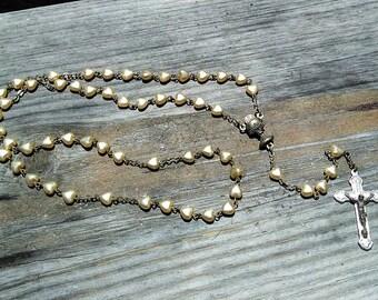 Vintage Rosary Pearl Heart Bead Communion Host Medal Roman Catholic Prayer Virgin Mary Mother Jesus Christ Mysteries Sale