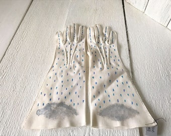 Vintage gloves hand painted rain clouds white cotton mid length size small/ free shipping US