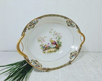Vegetable Serving Bowl with Handles Noritake Morimura Chelsea Pattern Hand Painted Art Deco China Dish in Colorful Porcelain Peacock Design