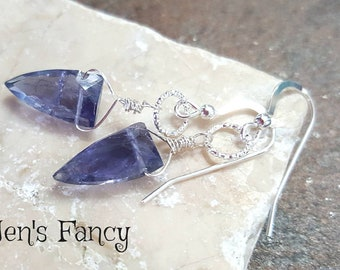 Iolite Earrings, Sterling Silver, Dagger, Faceted, Briolette, Gemstone, Jewelry, Jewellery, Unique, Handcrafted, Women's Gift, Blue Earrings