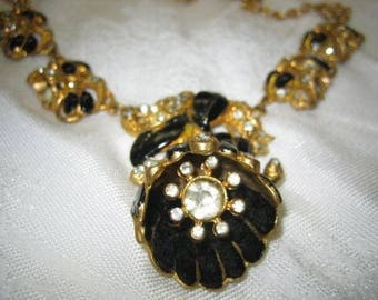 Vintage Coro Rhinestone Enamel Mechanical Flower Necklace
