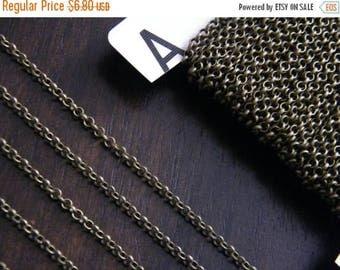 ON SALE 20ft Antique Brass Bronze Chain Round Cross Chain 2mm - B