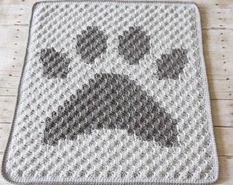 Crochet Baby Blanket, Paw Print Blanket, Crochet Paw Print, Boy Baby Blanket, Girl Baby Blanket, Puppy Blanket, Dog Blanket, Soft Blanket