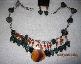 "Red Agate ""Pear"" with green glass Leaves: Necklace & Earrings ORIGINAL DESIGN...OnE Of A KiND"