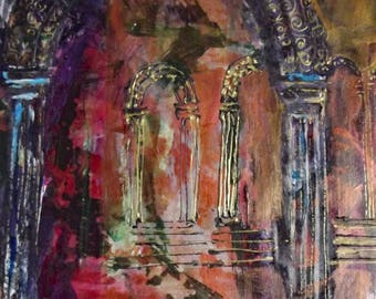 Archways Print From an Original Mixed Media Drawing and Painting
