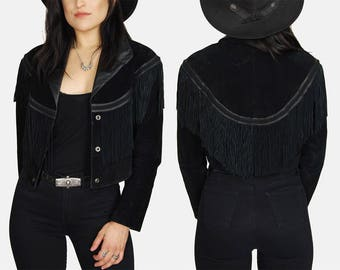 Black WILSONS Suede FRINGE Leather Jacket Vtg 80s Distressed Buttery Soft BRAIDED Gimp Moto Riding Biker Western Country - Medium/Large