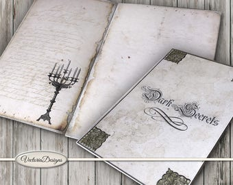Dark Secrets Journal Kit Printable Halloween Journal DIY junk journal crafting paper instant download digital collage sheet - VDJOHA1654