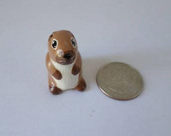 Miniature groundhog figurine, animal sculpture, groundhog totem, groundhog day #167