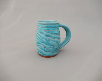 Turquoise  Handmade 12 Oz. Pottery Coffee Mug - Glazed Terracotta - Ceramic Holiday Gift