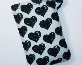 """Pipe Pouch, Pipe Case, Black Heart Bag, Glass Pipe Bag, Padded Pouch, 420 Smoke Bag, Cute Pouch, Goth Bag, Pothead Gift Idea - 5"""" DRAWSTRING"""