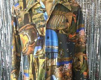 1970's On the Coast Aquarium Mens Button Down Shirt