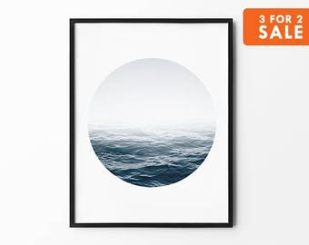 Ocean Print, Sea Wall Art, Winter Print, Foggy, Nature Wall Art, Black and White, Photography Print, Natural Decor, Navy, Minimalist