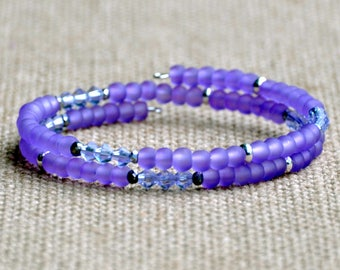Purple Frost & Sparkle Dainty Wrap Bracelet