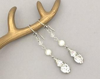 Long Dangle Bridal Earrings - Rhinestone Heart Earrings - Wedding Jewelry Earrings - Clear Rhinestone Pearl Earrings - Earrings for Women