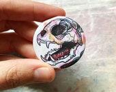 Cat Skull Button Pin