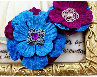 Medicci Flowers Berry #532925 | Prima Flowers | Turquoise Blue and Berry Purple Velvet flowers with metal and gem centers