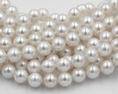 South Sea Shell Pearl 6mm Antique White Rounds -15.5 inch strand