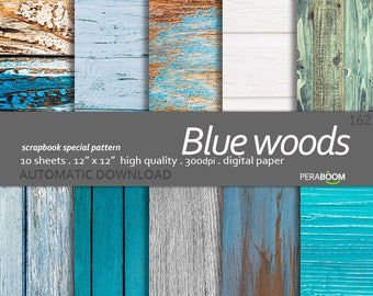 Wood Backgrounds Blue shabby Digital Backgrounds Wood Texture  Teal Wood background Brown Wood Digital Paper Small commercial use Wedding