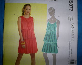 McCalls 5877 Size 4-6-8-10-12. Pullover Dress.