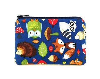 Woodland Animals Coin Purse, Mini Wallet, Zipper Pouch, Card Wallet, Change Purse, Padded Pouch, Gift ideas