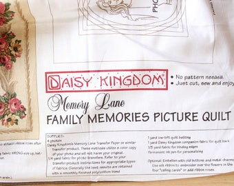 Daisy Kingdom Family Memories Picture Quilt Panel . Do It Yourself Blanket . Housewarming Gift . Memory Lane Picture Kit . Rare Fabric