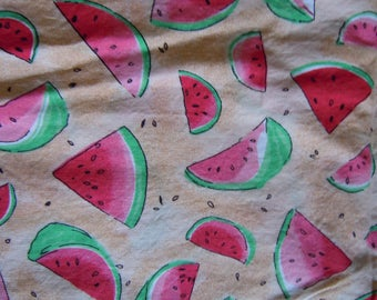 """Watermelon fabric 3 yds x 42""""  cotton  watermelon slices and seeds  in washed off the bolt condition"""