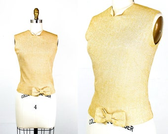 Vintage 1960s blouse . All That Glitters . button back gold blouse . 50s / 60s gold shell . sm / small