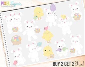 easter clipart bunny bunnies chicks clip art eggs digital - Easter Friends Digital Clipart