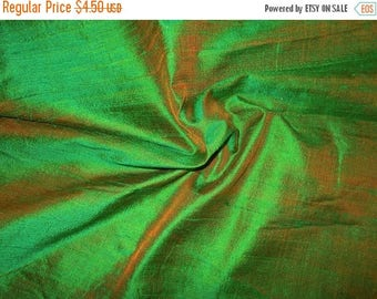 15% off on Fat quarter of 100 Percent pure dupioni silk in a dual tone of green with a red tinge