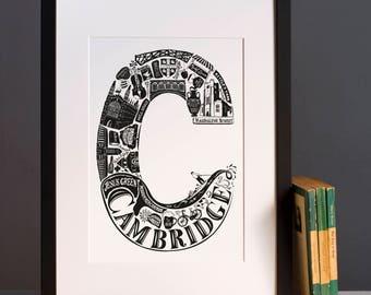 Best of Cambridge print      - Graduation gift - University town - Typographic art - Cambridge poster - Cambridge artwork