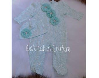 Baby Girl Footie & Hat, Mint Newborn Footie Outfit, Coming Home Outfit, Mint Footie Set, Newborn Footed Romper, Mint Baby Girl Outfit