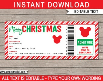 Christmas Disneyland Trip - Printable Ticket - Surprise Trip to Disneyland - INSTANT DOWNLOAD with EDITABLE text - you personalize at home
