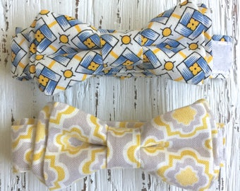 READY TO SHIP (size 1-2yo), One of a Kind, yellow and blue bowtie, yellow and gray bowtie, blue bow tie, yellow bow tie, boys yellow bowtie