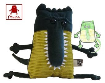 Gavial Crocodile Muma Plushie, Little Pocket Crocodile Stuffie Toy, Funny Pocket Plush, Gavial of Ganges Muma