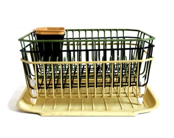 Vintage Rubbermaid Dish Drying Rack Wire Metal 2913 Drainer Tray 1180  Harvest Gold Avocado Green 1970s