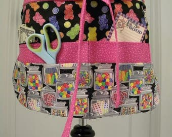 Teacher Aprons-Crafter Vendor Utility Apron-Penny Candy and Gummy Bears