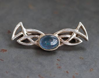 Celtic Lapel Pin - Sterling Silver Vintage Brooch with Blue Opal Stone