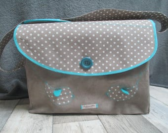 Birds theme, diaper bag taupe and turquoise
