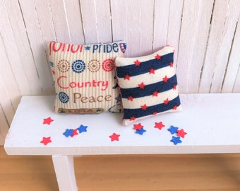 Miniature Pillows With Red, White, and Blue, 4th of July Theme - Perfect Summer Decor for Your Mini Cottage