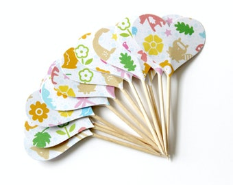 Nature Heart Cupcake Toppers, Woodland Animal, Whimsical, Baby Shower, Party Decor, Childs Birthday