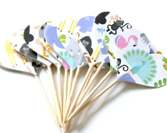 Animal Cupcake Toppers, Baby Shower, Zoo Party Theme, Animal Birthday