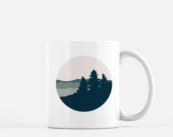 Mountain landscape coffee mug | mountain art mug | mountain life coffee mug | mountain home | mountain girl coffee mug | coffee mug tree