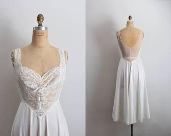 Vintage 60's Olga Nightgown White/Ivory Slip Dress / Midi Slip / Wedding Slip/ Lace lingerie/ Ivory Slip / Bridal / Size S/M